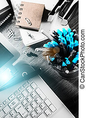 Business concept with office desk top. Online business, banking, consulting