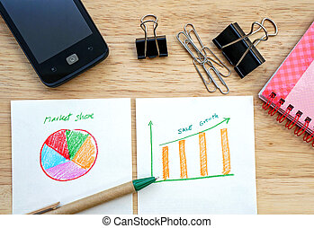 Business concept with pen, mobile phone and financial table and graph