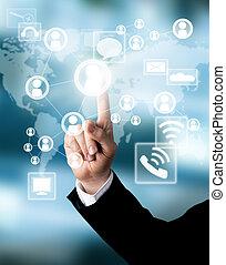 Business concept with virtual scheme - Businessman hand ...
