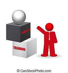 business concept with words training and practice, vector...