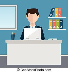 Business concept - woman sitting at the table and working on the computer in the office. Vector illustration, flat style