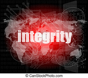 business concept: word integrity on digital background