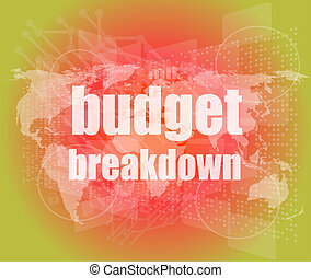 Business concept: words Budget breakdown on digital screen, 3d