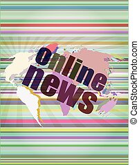 business concept: words online news on digital touch screen vector illustration