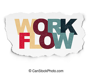 Business concept: Workflow on Torn Paper background