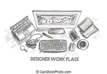 Business concept, working desk, Hand drawn sketch illustration