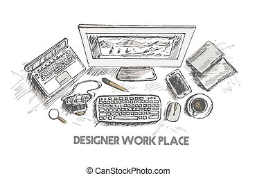 Business concept, working desk, Hand drawn sketch...