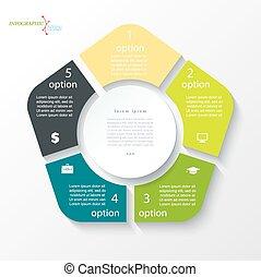 business, conception, segments., cercle, infographic, 5, ...