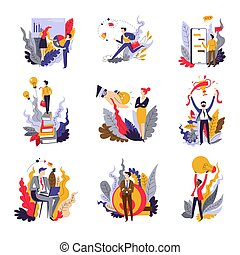 Business concepts isolated icons startup and projects businessman and businesswoman