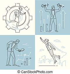 Business concepts - set of line design style illustrations