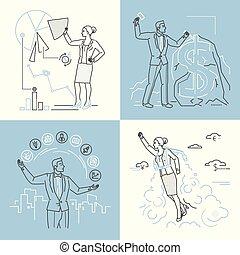 Business concepts - set of line design style illustrations