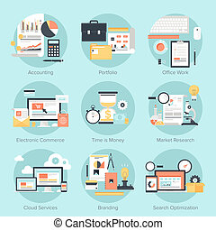 Vector set of flat and colorful concepts on business and finance, electronic commerce, marketing, office, branding, cloud services and SEO theme . Design elements for web and mobile applications.