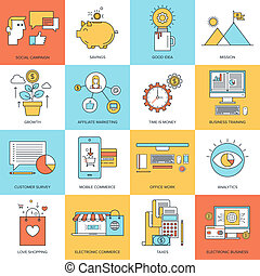 Business concepts. - Vector set of flat line concepts on...