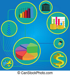 business conection - abstract business icons with an...
