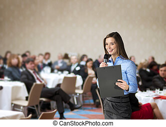 Business conference - Beautiful business woman is speaking ...