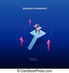 Business conference - modern isometric vector web banner