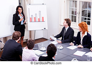 business conference presentation with team training
