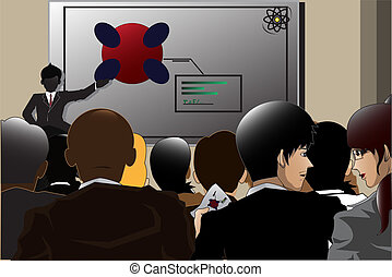 Business conference - A vector illustration of business...