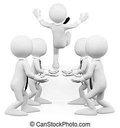 business, confiance, gens., équipe, 3d, blanc