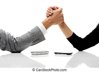 business conflict concept - businessman and businesswoman...