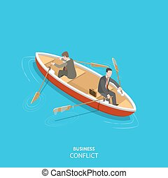 Business conflict flat isometric low poly vector concept. ...