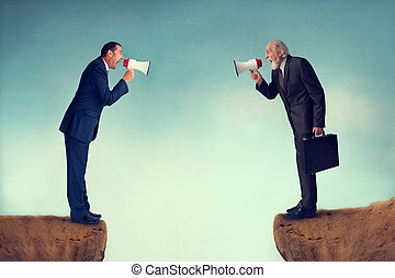 business conflict - businessmen shouting through megaphones...