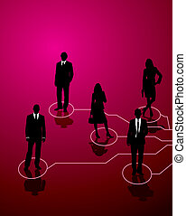 business connect - Five business people connected by lines ...
