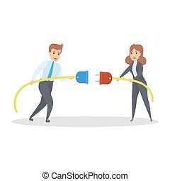 Business connection concept. Businessman and businesswoman...