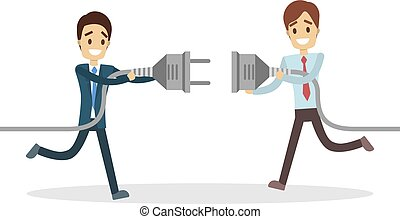 Business connection concept. Two businessmen plugging...