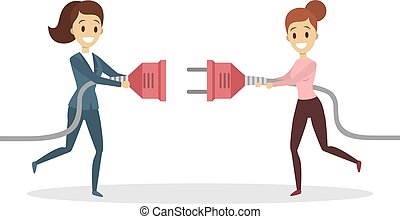 Business connection concept. Two businesswomen plugging...