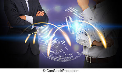 Business connection concept.social network, globalization business.