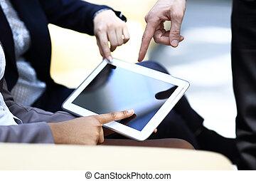 business, conseiller, analyser, figures financières, denoting, les, progrès, dans, les, travail, de, les, compagnie
