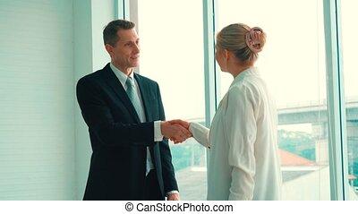 business, constitué, gens, bureau, poignée main