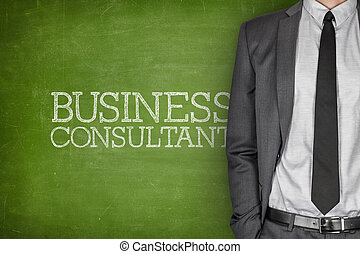 Business consultant on blackboard