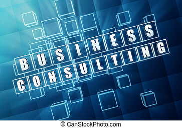business consulting in blue glass cubes