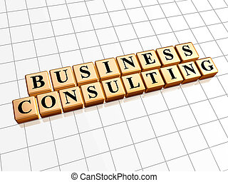 business consulting in golden cubes
