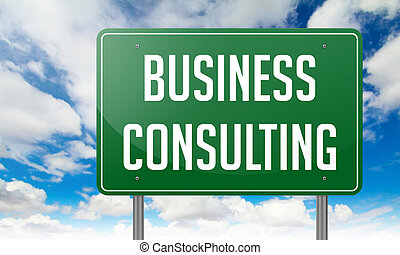 Business Consulting on Highway Signpost.