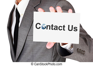 Business contact us card shown