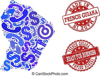 Business Contacts Collage of Mosaic Map of French Guiana and Grunge Seals