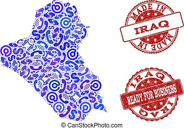 Business Contacts Collage of Mosaic Map of Iraq and Distress Stamps