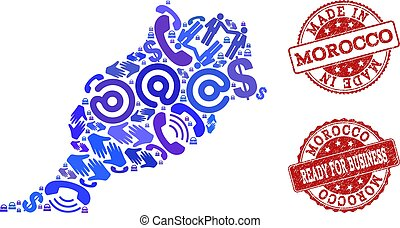 Business Contacts Collage of Mosaic Map of Morocco and Grunge Seals