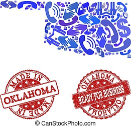 Business Contacts Composition of Mosaic Map of Oklahoma State and Grunge Stamps
