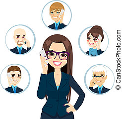 Concept illustration of businesswoman calling business contacts on a working day isolated on white background