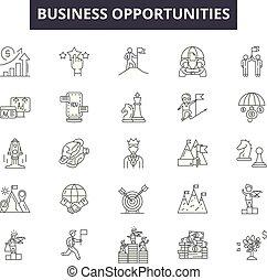 business, contour, business, ensemble, icônes, occasions, illustration:, vector., signes, ligne, concept
