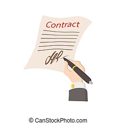 Business contract with signature icon
