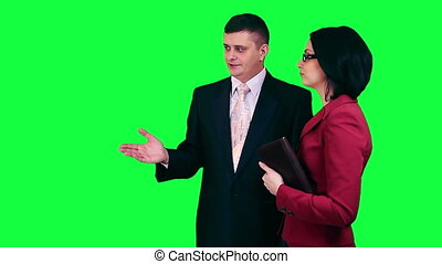 Business conversation chroma key - Businessmen talking about...