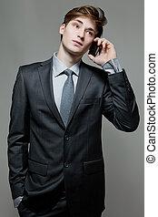 business, conversation, jeune, téléphone portable, homme