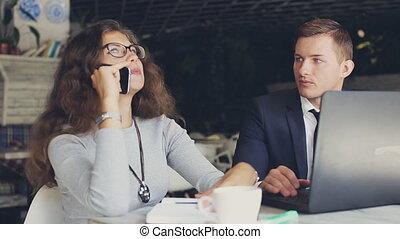 business, conversation, téléphone, café, girl, homme