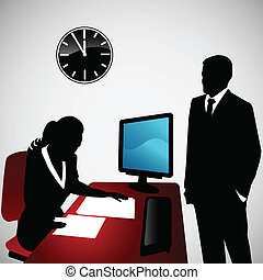 Business Conversation - Vector illustration of two business...