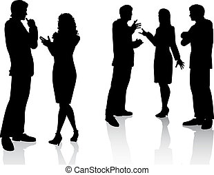 Silhouettes of business people in conversation